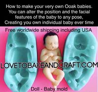 Baby mold. Silicone baby mold. Tiny baby  mold. Doll mold.  Ooak baby, Ooak mold. Free shipping (1)